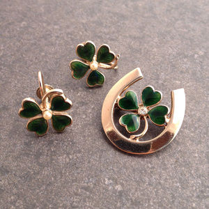 Vintage 4 Leaf Clover Pin and Earrings
